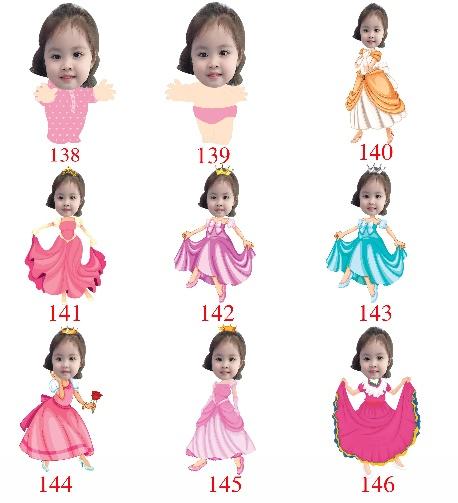 mẫu chibi công chúa cho bé gái